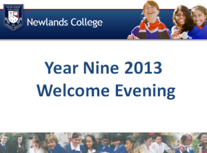 Y9 Welcome Evening