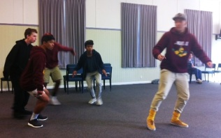 "The Scarecrow and the pesky crows rehearse ""If I Only Had Brain"""
