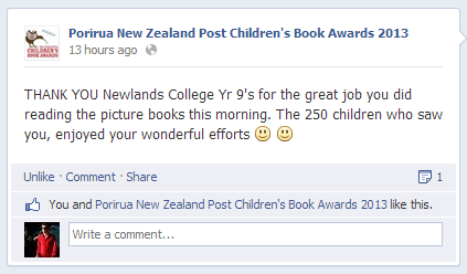 Porirua New Zealand Post Children's Book Awards 2013 Facebook Status Update