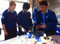Robert, William, Hamish and Sean putting the ingredients together