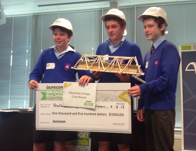 The winners of the Wellington competition - Haydon Smith, Lochlan Young and Casey Norman