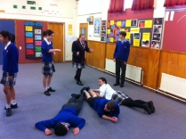 Students had to answer Maths questions with their bodies.